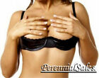 Black Vinyl Shelf Bra Chopper Open D Cup Underwire Bare Breast Nipple 34-44 4197