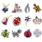 Hot Charms 12 Styles Rhinestone Crystal Fashion Brooch Pin Christmas Gift Unisex