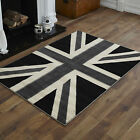 LARGE XL MODERN BLACK GREY CREAM BRITISH UNION JACK UNION FLAG FLOOR CARPET RUGS