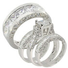 4 pcs 5.3CT His and Hers 4pcs Sterling Silver 925 Engagement Wedding Ring Set