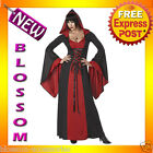 C769 Deluxe Red Hooded Robe Gothic Vampire Vampiress Witch Halloween Costume