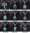 9 Style Vintage Style Tibet Silver Turquoise Stone Pendant Necklace Christmas