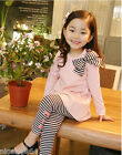 P112 Girls Christmas Pink T-shirt + Blue Stripe Legging Pant Set SZ 2-3-4-5-6-7T