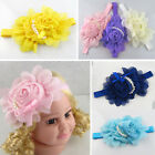 Cute Baby Toddlers Rose Pearl Chiffon Chain Bowknot Hairband Headband Hair Decor
