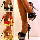 NEW Ladies Bow front Peep toe Ankle Strap Stiletto High Heel Shoes Sandals Size