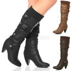 WOMENS LADIES KNEE LOW HEEL BUCKLE ZIP CALF KNITTED COLLAR CUFF BOOTS SIZE