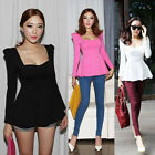 New Womens Crew Neck Solid Long Sleeve Peplum Bottoming Shirt Blouse Tops Trendy