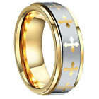 Tungsten Gold Laser Etched Multi Cross Brushed Stripe Men's Band Ring Size 8-13