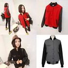 Womens Splicing Faux Leather Embroidery Eye Pattern Baseball Jacket Coat Outwear