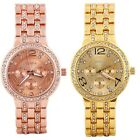 Luxury Gold Bling Quartz Classical Crystal Fashion Lady Women Date Wrist Watch