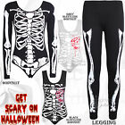 LADIES WOMENS HALLOWEEN LEOTARD SKELETON BONE PRINT SKULL BODYSUIT TOP 8-14