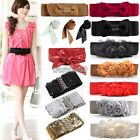 Double Rose Flower Buckle Elastic Waist Belt Lady Women Wide Waistband New WST