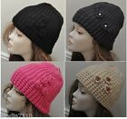 LADIES WOMENS BEANIE HAT CHUNKY CABLE KNITTED CROCHET FLOWERS WINTER SKI WARM