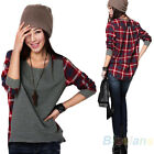 Women Fashion Loose Top Long Sleeve Plaid Patchwork T-Shirt Casual Basic Blouse