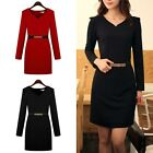 Women's Sexy V Neck Long Sleeve OL Slim Tunic Pencil Bottoming Dress With Belt
