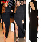 Womens Slit Open Back BodyconSlim Evening Gown Prom Party Cocktail Long Dress