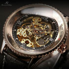 KS Royal Carving Men's Leather Luxury Skeleton Automatic Mechanical Sport Watch