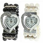 Fashion Women Pearl Beads Wrist Watch Bracelet Bangle Rhinestone Heart Gift Hot