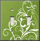 Light Switch Plate Cover - White Flourish On Lime Green - Modern Home Decor