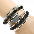 Fashion Black Bracelet Beads Women Girl Bangle Dial Quartz Wrist Watch Gift