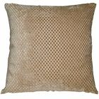vb15a Light Brown Pale Brown Gold Checked Thick Cotton Blend Cushion Cover/Case