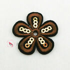 Brown Flower Sequin Iron On Patches 30mm M0246-3