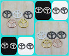Wholesale 5 Metal 23mm Round Peace Sign Bracelet Connector Loose Charm Beads