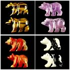 F1537 Two Carved Kinds Of Stone Bear Pendant Bead