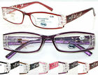 R441 Reading Glasses Plastic Frame/Lazer Cut Detail/ Diamante/Flexi Hinge+50+100
