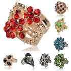 Mixed Choose Flower Crystal CZ Rhinestone Cocktail Adjustable Finger Ring TZ228