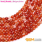 """Natural Gemstone Faceted Red Canelian Agate Stone Beads for Jewelry Making 15"""""""