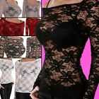 NEU SEXY BLUSE DENTELLE PARTY SPITZENTOP STRETCH DURCHSICHTIG/TRANSPARENT LACE