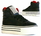 LADIES GIRLS PUMP TRAINER BLACK THICK WHITE FLATFORM CHUNKY SOLE FLAT SNEAKERS