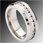 8MM Titanium Flat top CZ Eternity Men's Band Ring SZ 7-13