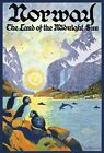 TT42 Vintage Norway Norwegian Land Of Midnight Sun Travel Poster Re-Print A3/A4
