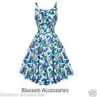 RKH17 Hearts & Roses Blue Floral Party Rockabilly Pin UpDress 50's Vintage Swing