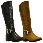 NEW WOMENS LADIES LOW HEEL FLAT WINTER QUILTED RIDING BIKER ZIP CALF BOOTS SIZE