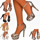 Ladies Metallic Peep Toe Ankle Strap Cut Out Platform Heels Sandals Shoes Size