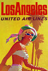 TX165 Vintage Los Angeles America Airline Travel Tourism Art Poster A3/A4