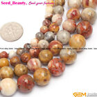 """Natural Stone Yellow Crazy Lace Agate Gemstone Jewelry Making Loose Beads 15"""""""