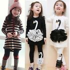 Girls Kids Chic Stripe Long Sleeve Top Dress + Bowknot Leggings Sets Outfit 35DI