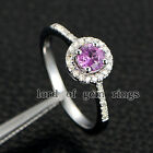 0.55ct Round Cut Pink Sapphire Engagement Ring with Halo Diamonds,14K White Gold