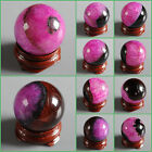 30mm Rose drusy druzy agate sphere shaped carving decor w/ stand