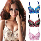 Women's Lady Sexy Retro Embroidered Deep-V Push Up Plunge Lift Up Underwire Bra