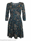 NEW EX PEACOCKS BOTTLE GREEN BLACK BROWN FLORAL PAISLEY PRINTED TUNIC DRESS TOP