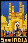 TX68 Vintage 1950's See India Hyderabad Indian Travel Poster RePrint A1/A2/A3/A4