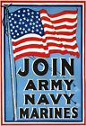 W43 Vintage WWI Join Army Navy Marines Recruitment War Poster WW1 A1/A2/A3/A4
