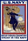 W44 Vintage WWI Join US Navy Recruitment War Poster WW1 A1/A2/A3/A4
