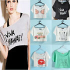 Sexy Loose Scoop Neck Short Sleeve Basic Cropped Belly Tee Shirts Top U Pick
