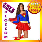 E29 Ladies Supergirl Hero Girl Fancy Dress Halloween Superhero Costume Outfit